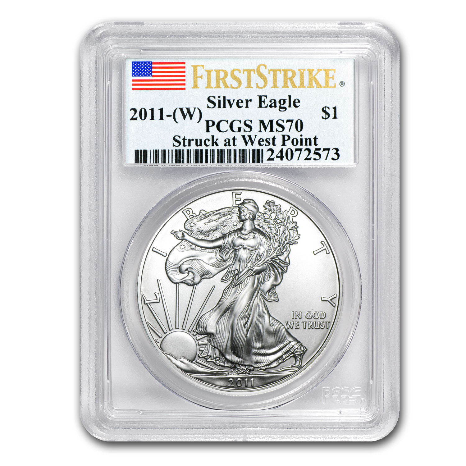 2011 (W) Silver Eagle MS-70 PCGS (First Strike, WP Label)