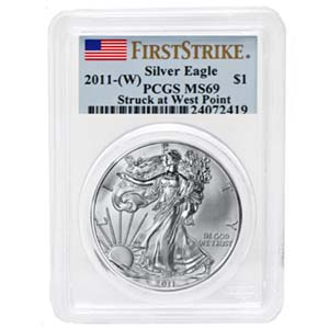 2011 (W) Silver Eagle - MS-69 PCGS - West Point - First Strike