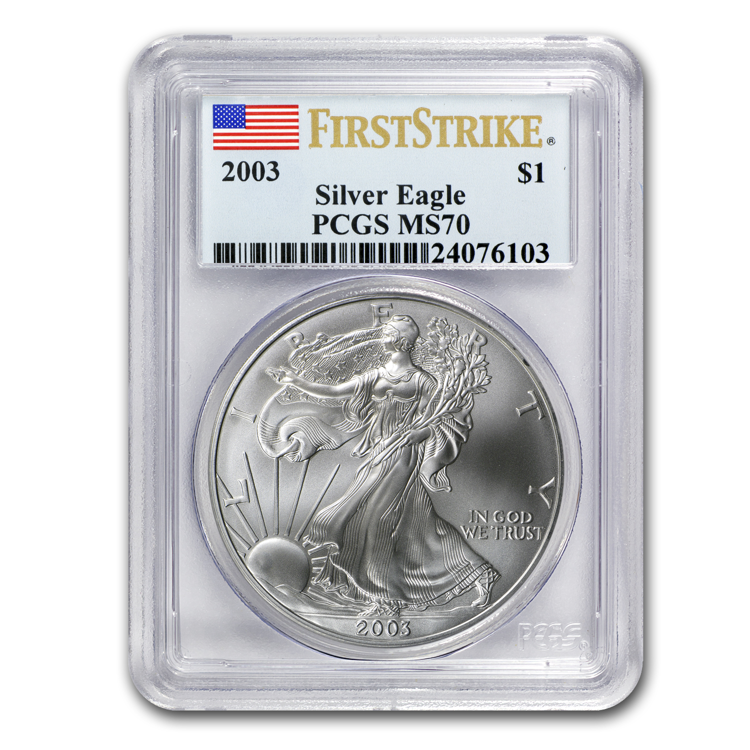 2003 Silver American Eagle MS-70 PCGS (First Strike)