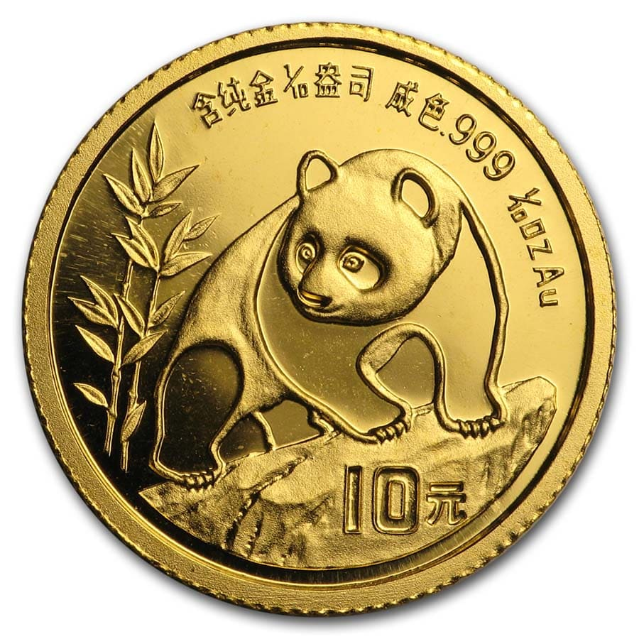 1990 1/10 oz Gold Chinese Panda Small Date BU (Sealed)
