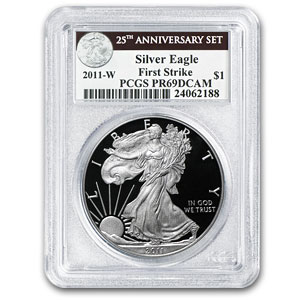 2011-W Proof Silver Eagle 25th Anniversary PR-69 PCGS (FS)