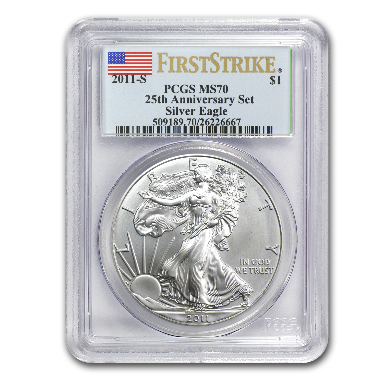 2011-S Silver American Eagle MS-70 PCGS (FS, 25th Anniv)