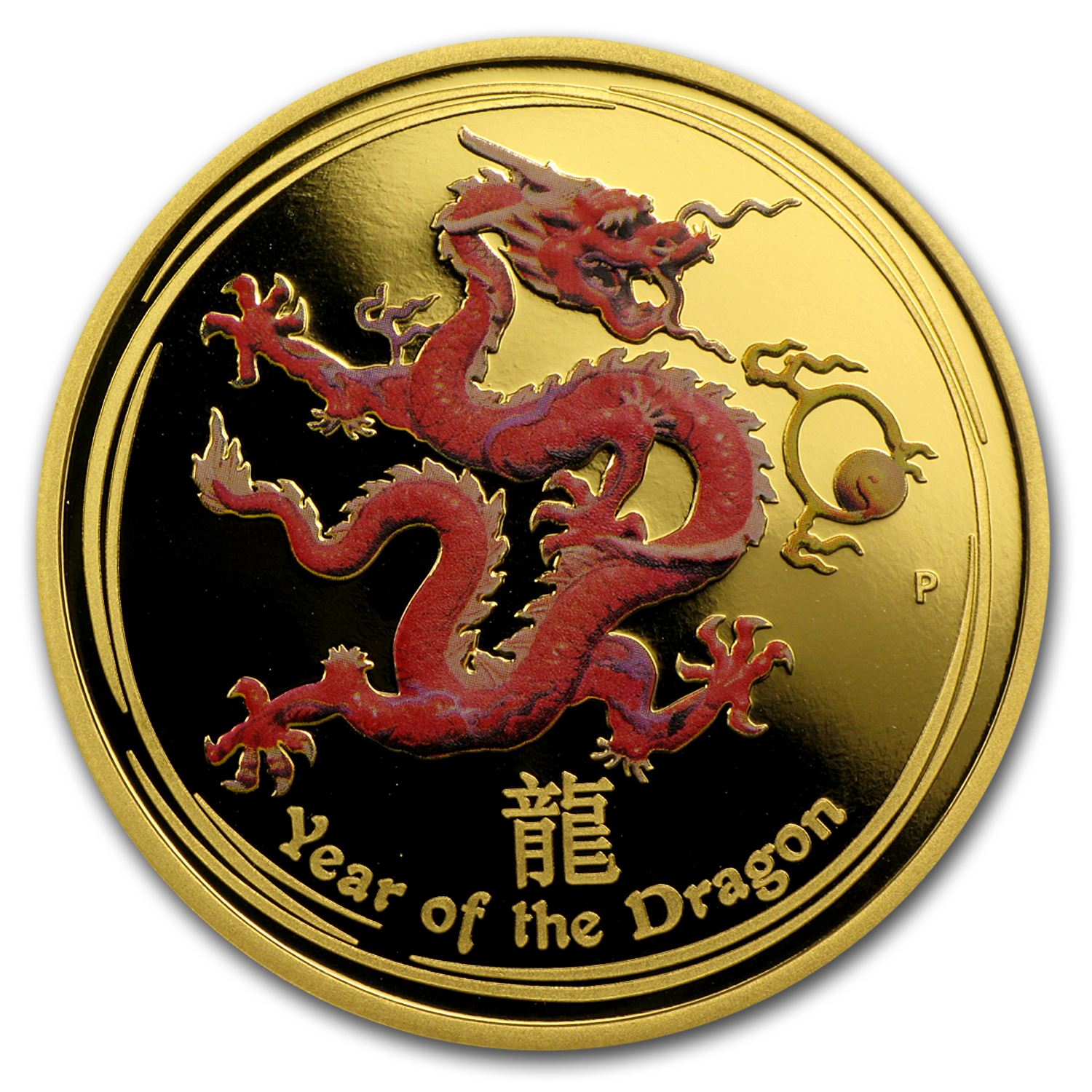 2012 Australia 1 oz Gold Lunar Dragon Pf (Series II, Colorized)