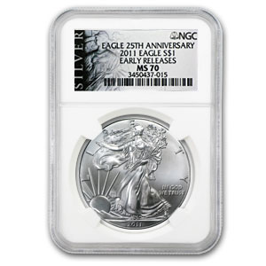 2011 Silver Eagle MS-70 NGC (25th Anniv, Black Label, ER)