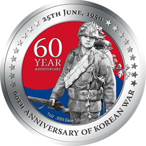 2010 1 oz Silver Niue $1 Korean War 60th Ann. Proof (W/Box & COA)