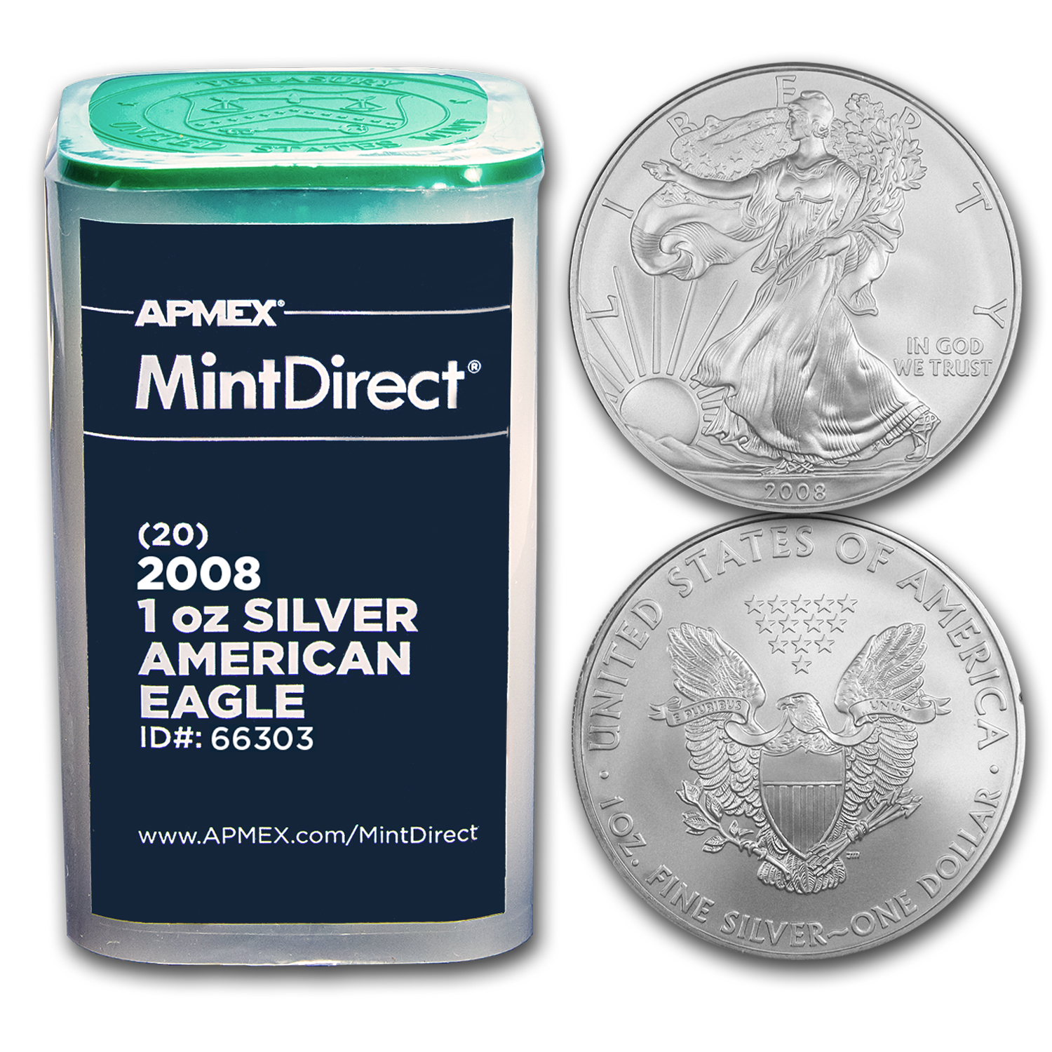 2008 1 oz Silver American Eagles (20-Coin MintDirect® Tube)