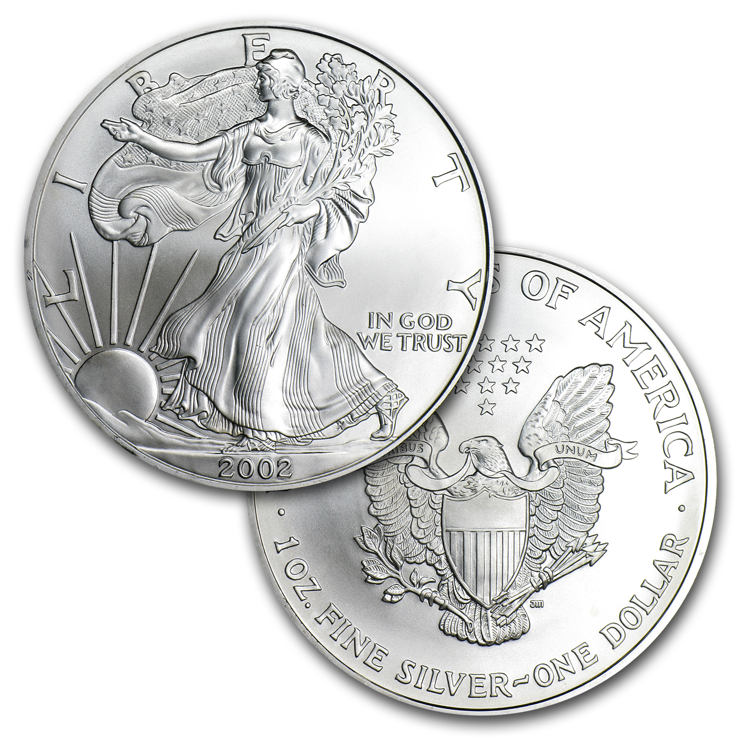 2002 1 oz Silver American Eagles (20-Coin MintDirect® Tube)