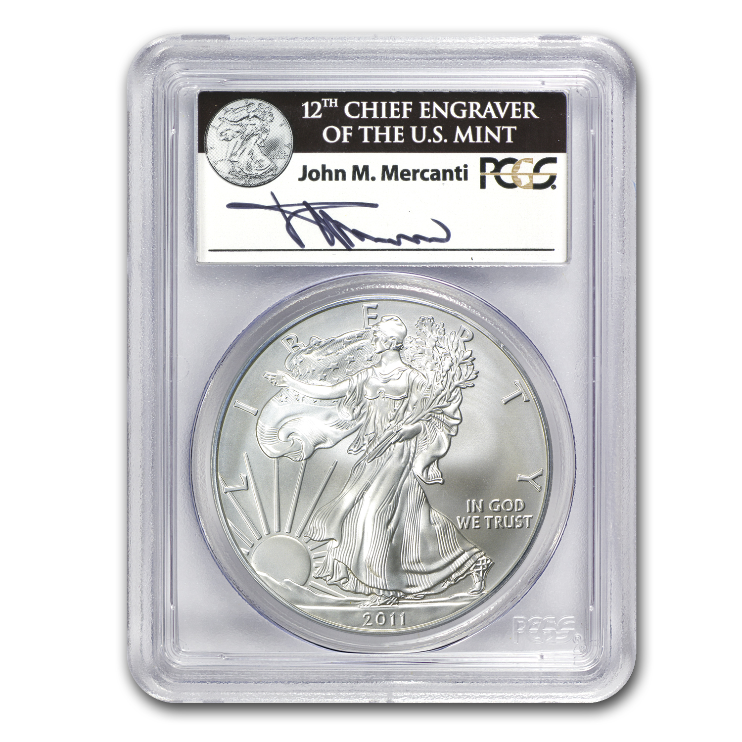 2011-W Burnished Silver Eagle MS-69 PCGS (FS, 25th Ann, Mercanti)