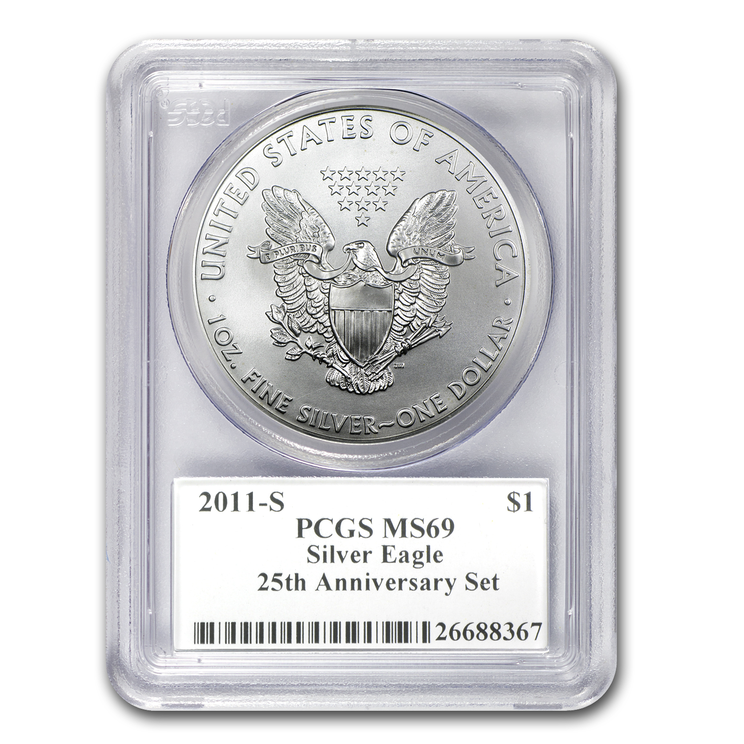 2011-S Silver Eagle MS-69 PCGS (FS, 25th Anniv, John Mercanti)