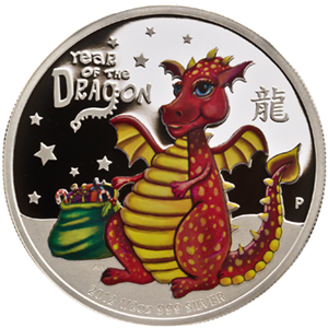2012 1/2 oz Silver Tuvalu Baby Dragon Proof (Colorized)