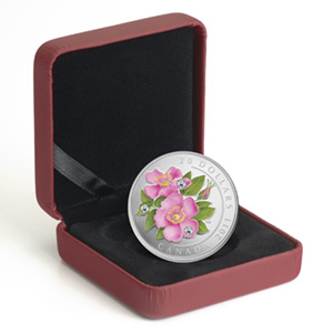 2011 1 oz Silver Canadian $20 Wild Rose Flower Crystal Dewdrops