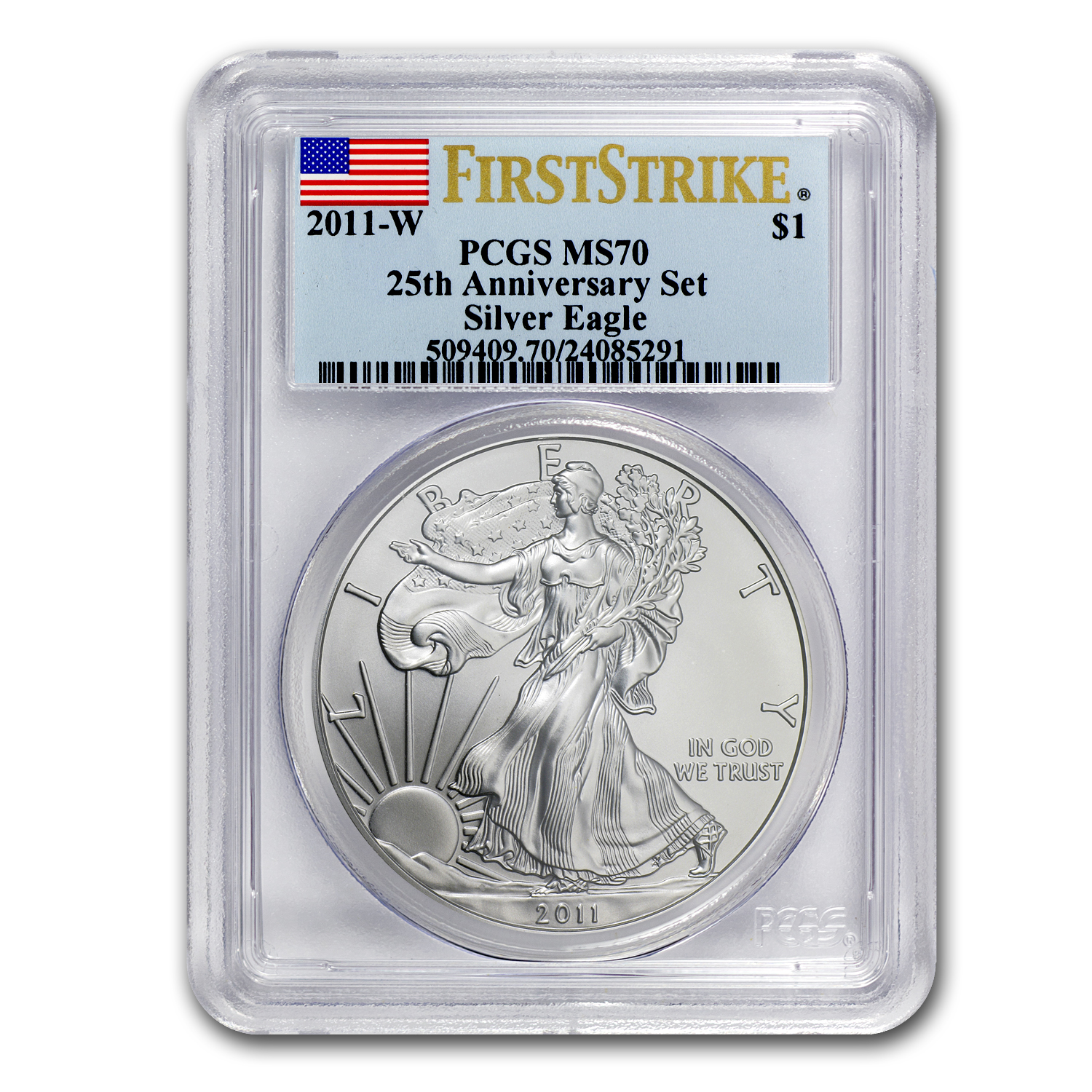 2011 5-Coin Silver Eagle Set MS/PR-70 PCGS (FS, 25th Anniv, BL)