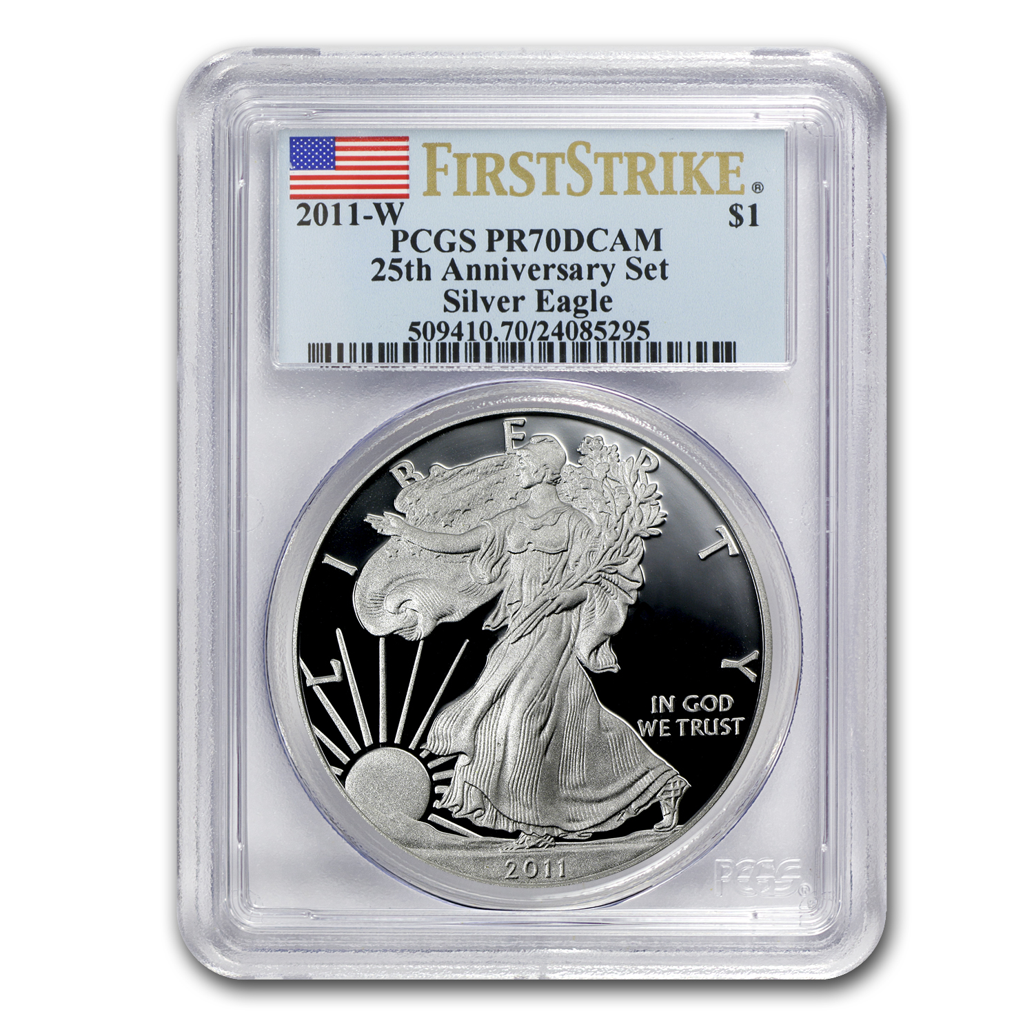 2011 (5 Coin) Silver Eagle Set MS/PR-70 PCGS 25th Anniv (FS) BL