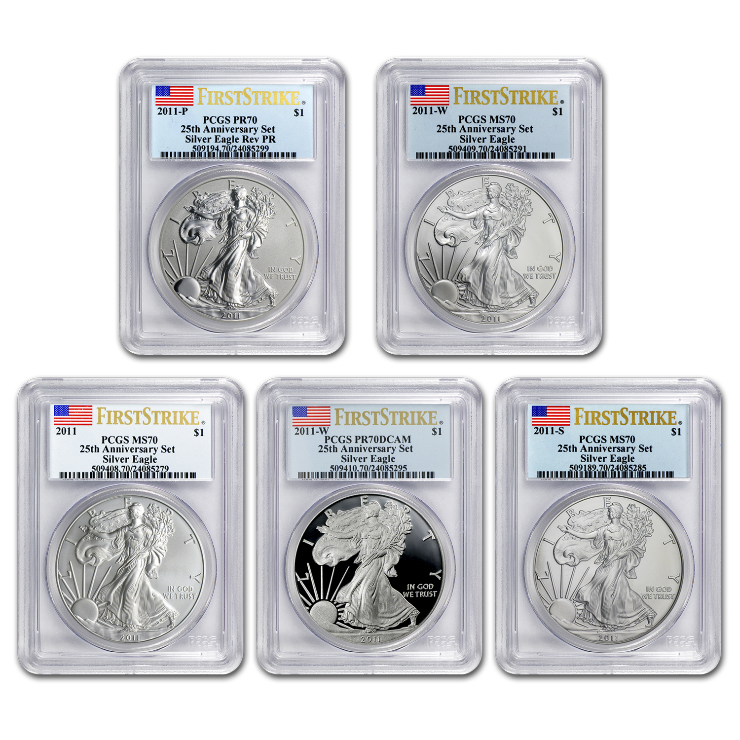 2011 5 Coin Silver Eagle Set MS/PR-70 PCGS (FS, 25th Anniv, BL)