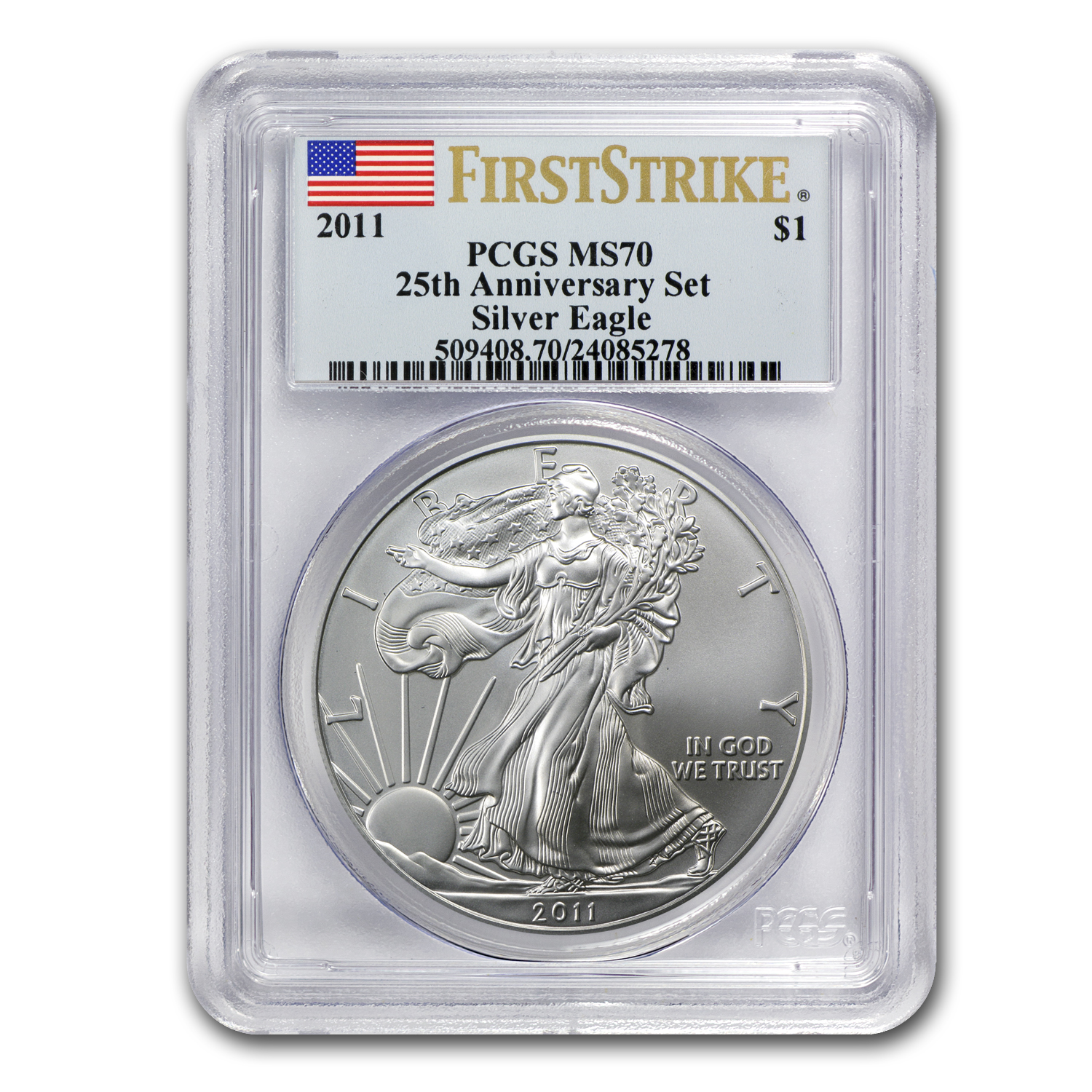 2011 Silver Eagle MS-70 PCGS (FS, 25th Anniv, Blue Label)