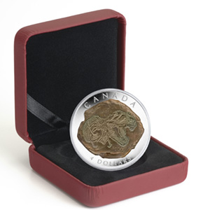 2009 1/2 oz Proof Silver Canadian $4 Tyrannosaurus Rex Fossil