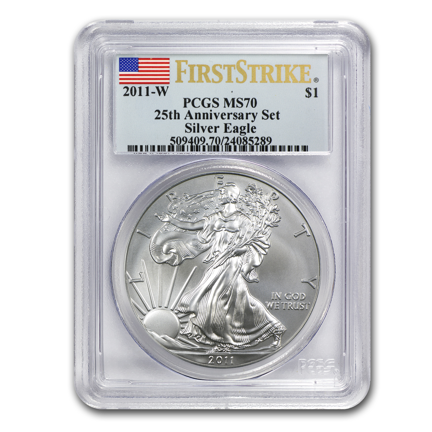 2011-W Burnished Silver Eagle MS-70 PCGS (FS, 25th Ann, Blue Lbl)