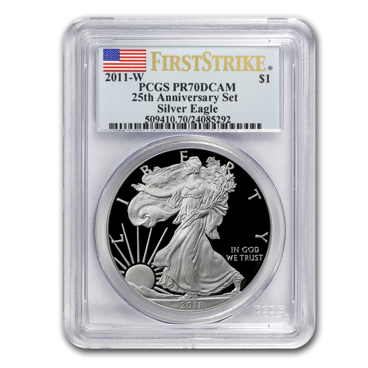 2011-W Proof Silver Eagle PR-70 PCGS (FS, 25th Anniv, Blue Label)