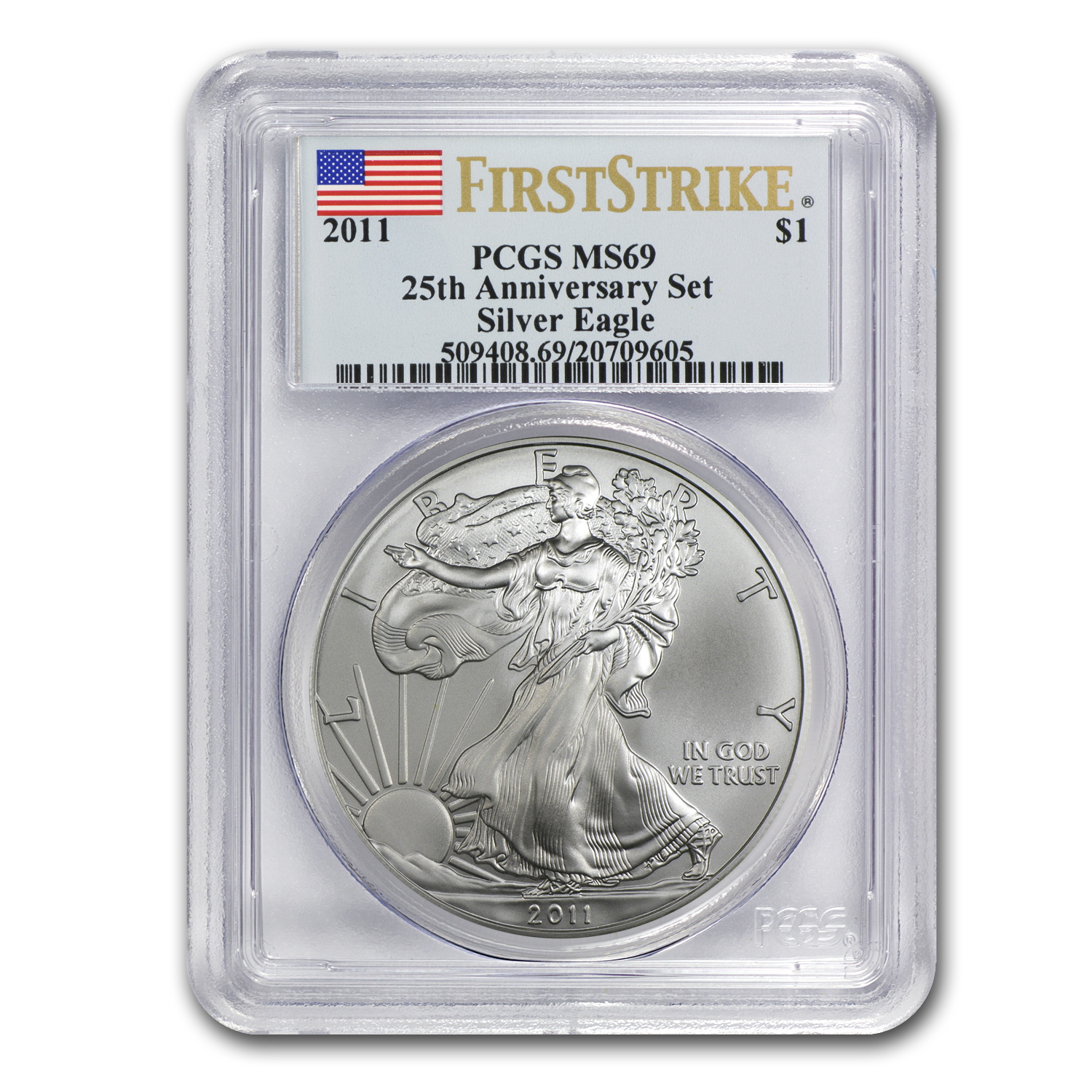 2011 Silver Eagle MS-69 PCGS (FS, 25th Anniv, Blue Label)