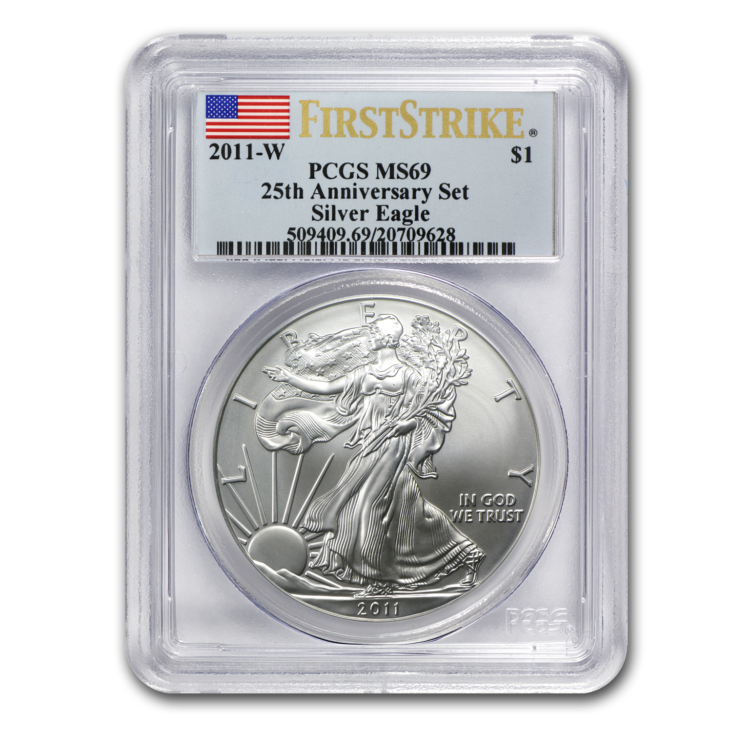 2011-W Burnished Silver Eagle MS-69 PCGS (FS, 25th Ann, Blue Lbl)