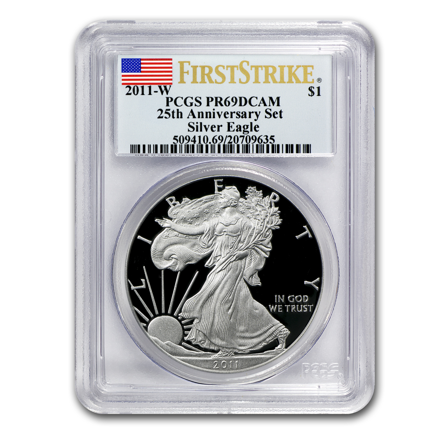 2011-W Proof Silver Eagle PR-69 PCGS (FS, 25th Anniv, Blue Label)