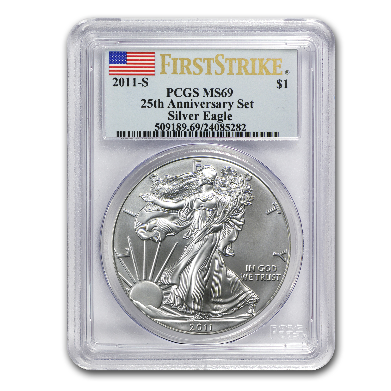 2011-S Silver Eagle MS-69 PCGS (FS, 25th Anniv, Blue Label)