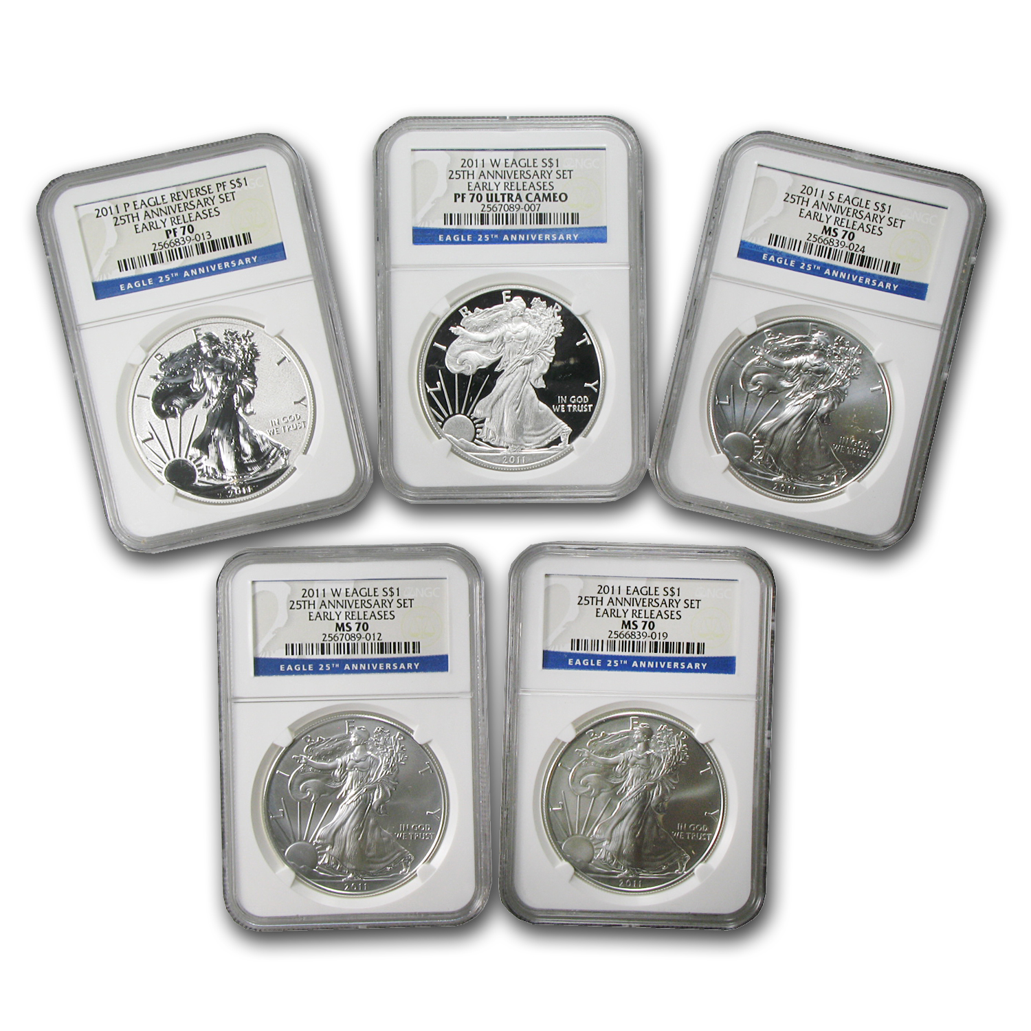 2011 5-Coin Silver Eagle Set MS/PF-70 NGC (ER, 25th Anniv)