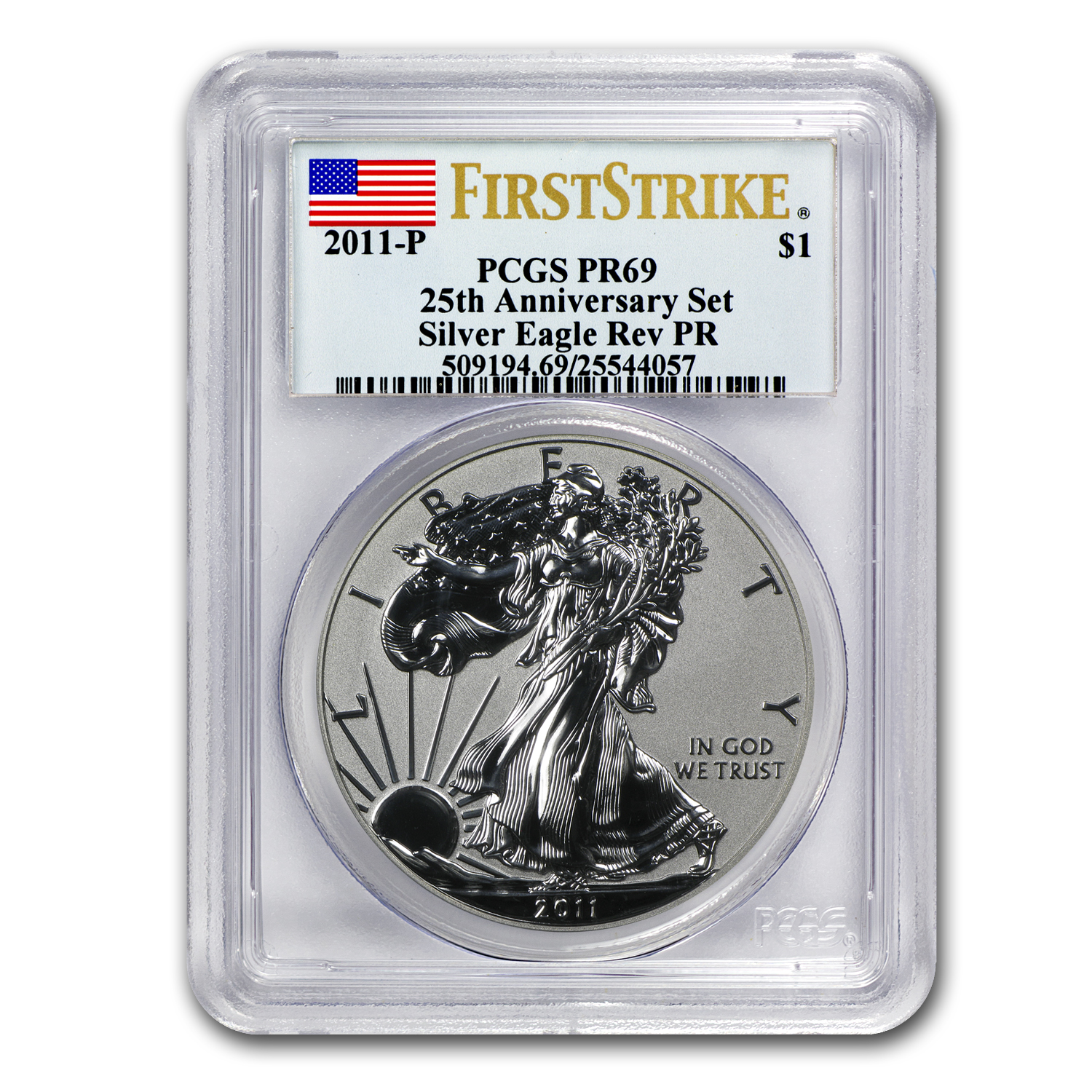 2011-P Reverse Proof Silver Eagle PR-69 PCGS (FS, Blue Label)
