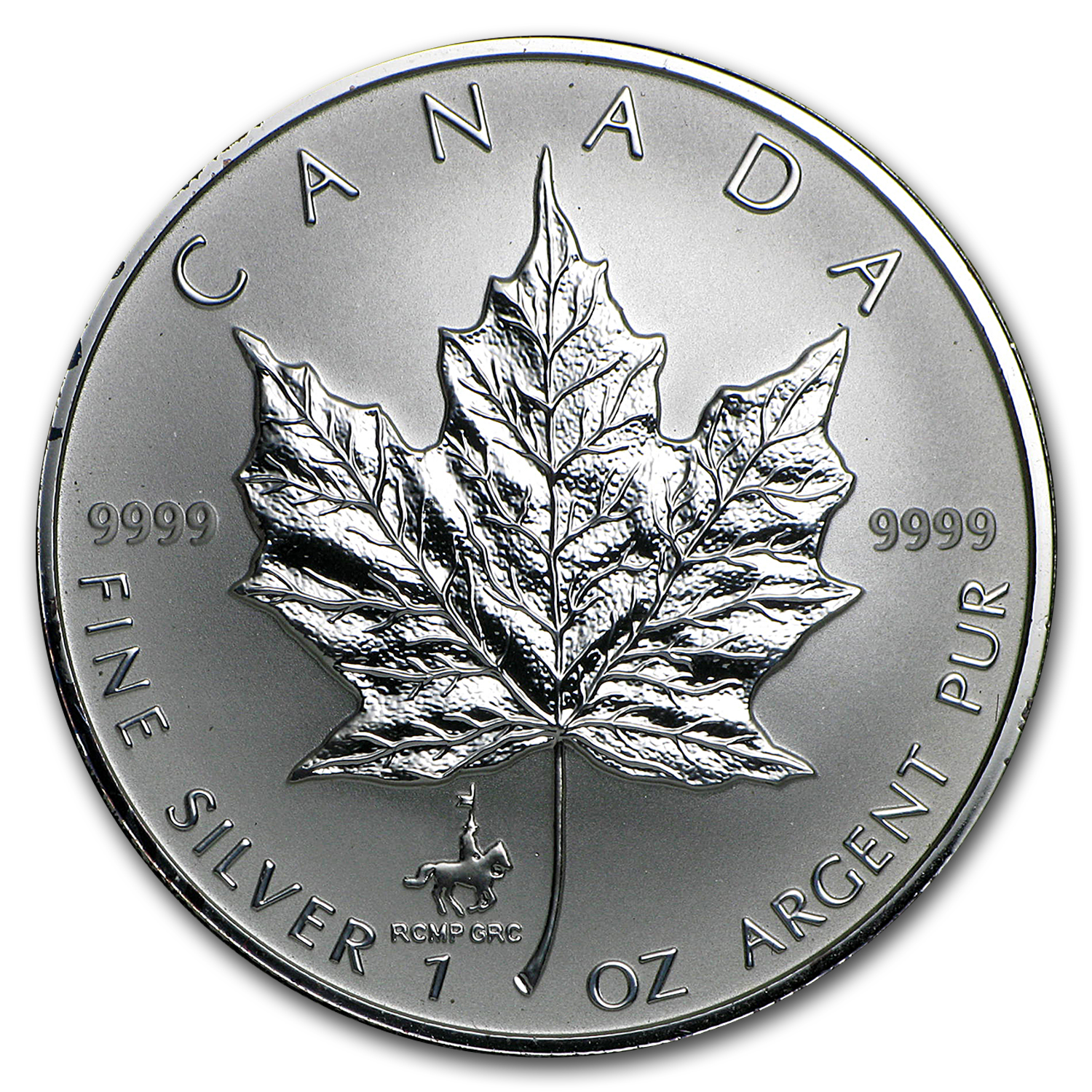 1998 Canada 1 oz Silver Maple Leaf RCMP 125th Anniv Privy