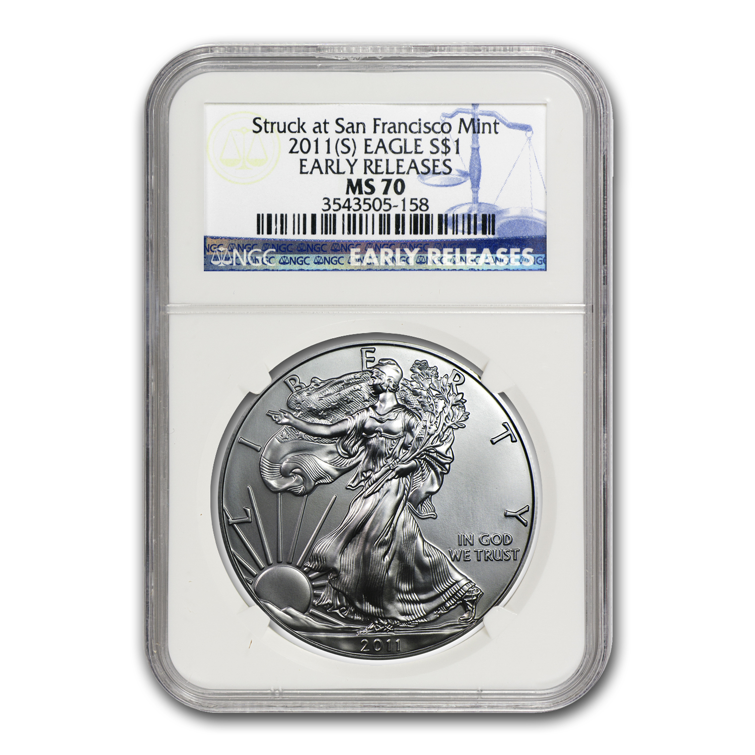 2011 (S) Silver American Eagle MS-70 NGC (ER, Blue Label)