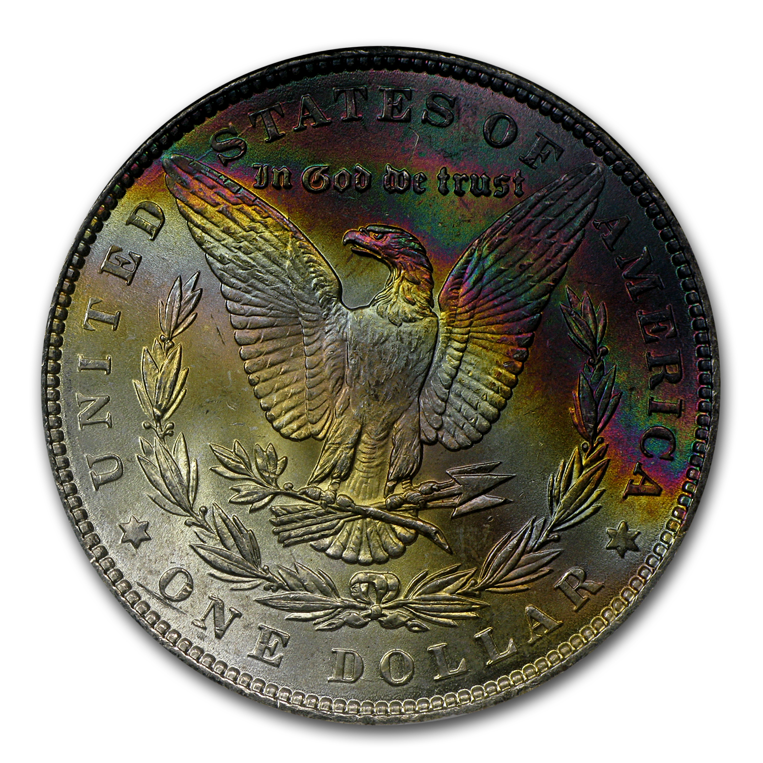 1886 Morgan Dollar MS-65* NGC (Star Designation Rev Rainbow)
