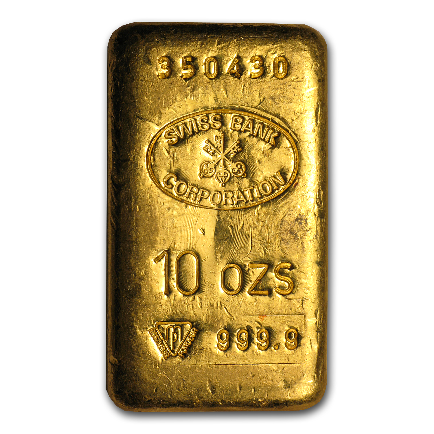 10 oz Gold Bar - Swiss Bank Corporation