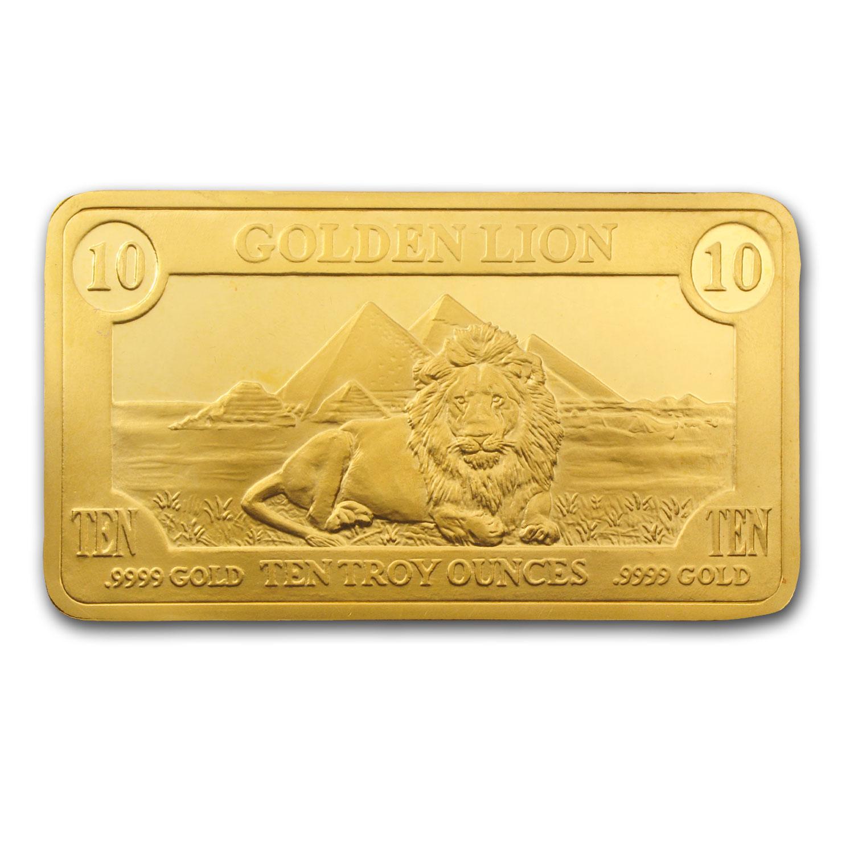 10 Oz Gold Bar Golden Lion Mint All Other Brands Gold