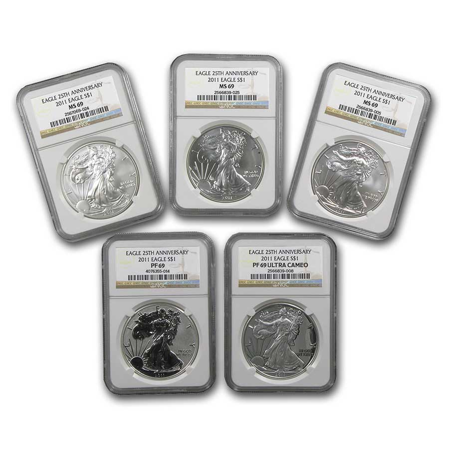 2011 5-Coin Silver American Eagle Set MS/PF-69 NGC (ER, 25th Ann)