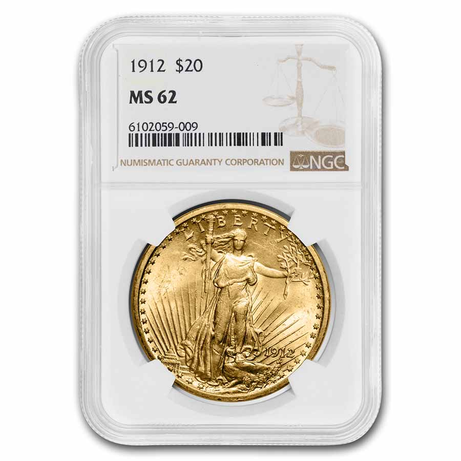 1912 $20 St. Gaudens Gold Double Eagle - MS-62 NGC
