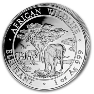 2012 1 oz Silver Somalian Elephants (20-Coin MintDirect® Tube)