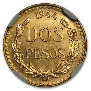 1944 Mexico 2 Pesos Gold MS-65 NGC