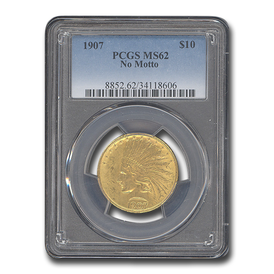 1907 $10 Indian Gold Eagle No Motto MS-62 PCGS