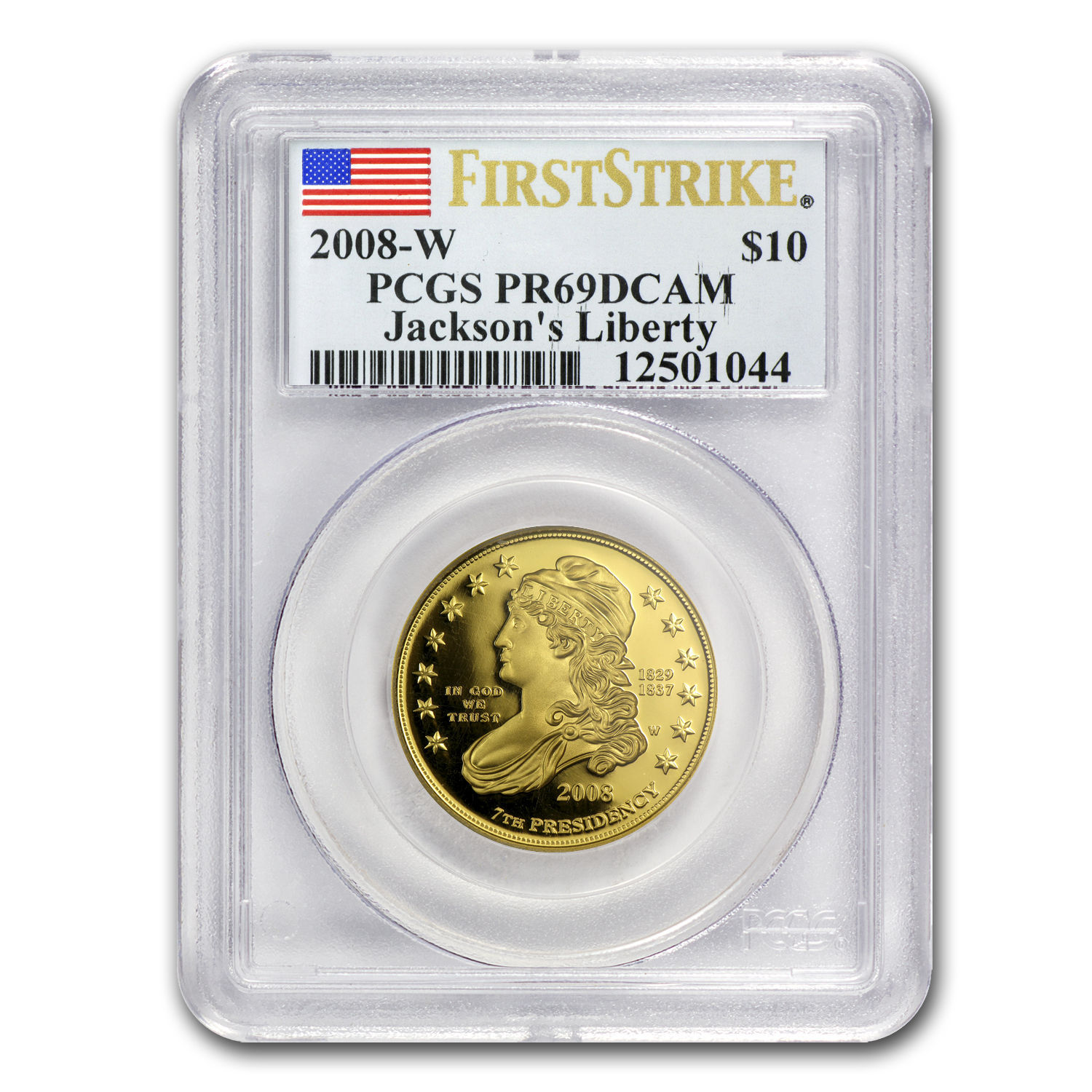 2008-W 1/2 oz Proof Gold Jackson's Liberty PR-69 PCGS (FS)