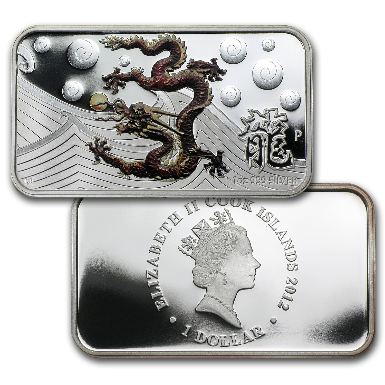 2012 4-Coin 1 oz Silver Year of the Dragon Prf Set (Rectangles)
