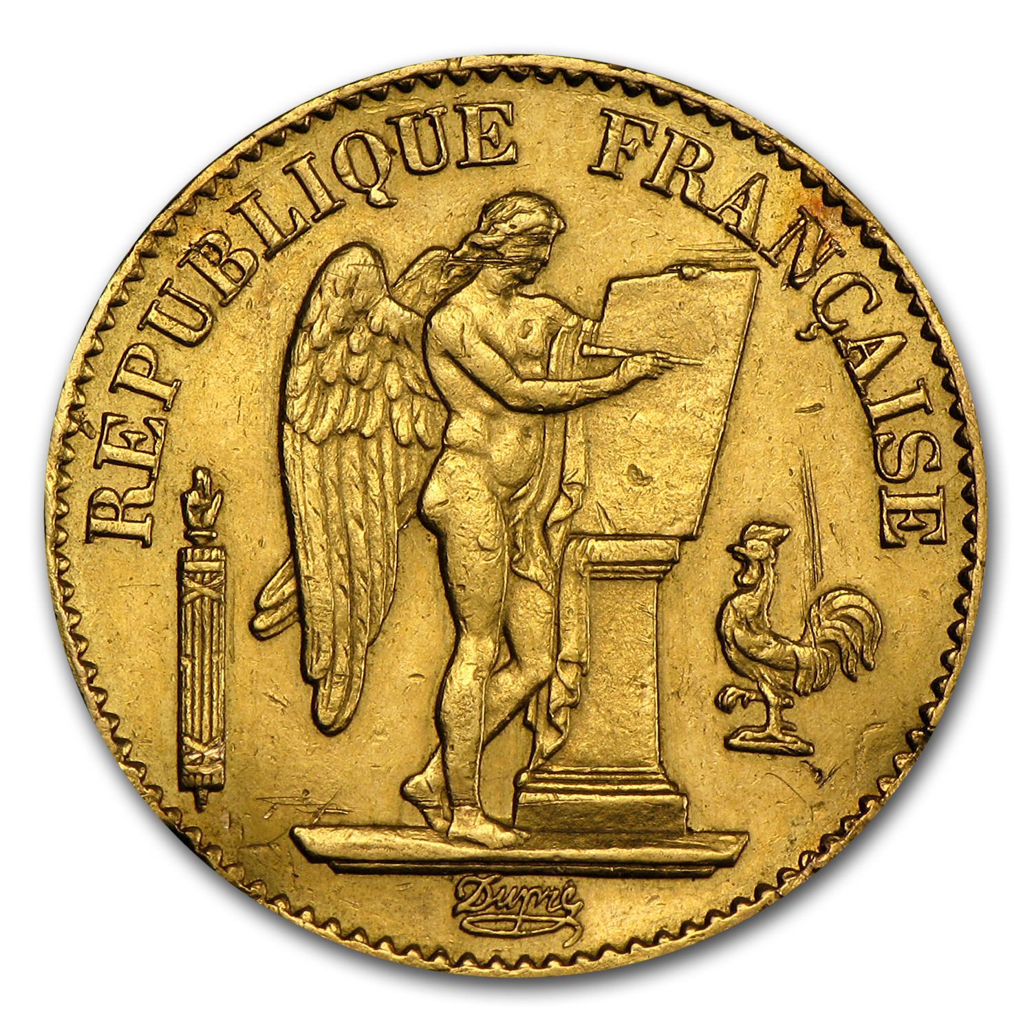 1875-1900 France Gold 20 Francs Lucky Angel (Scruffy)