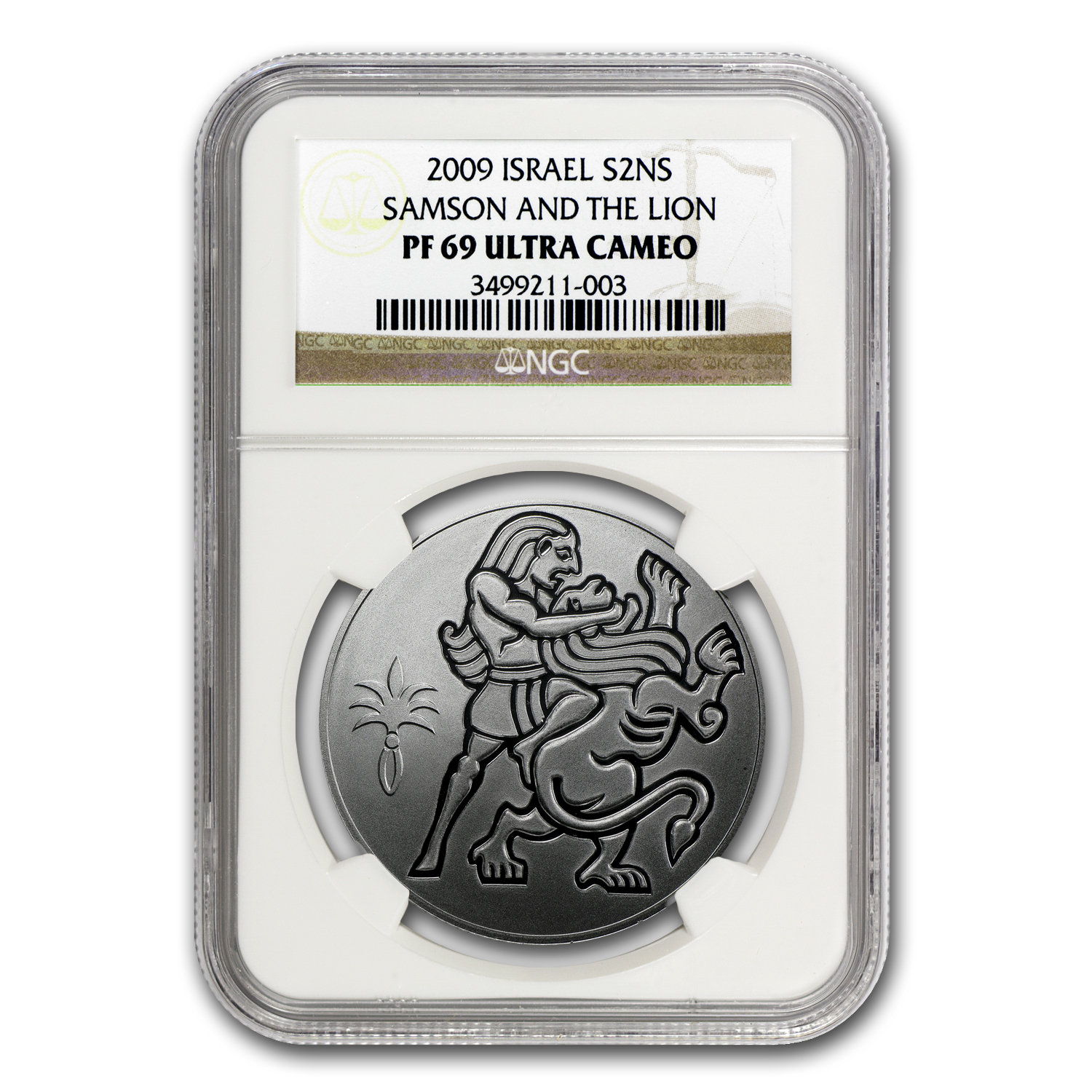2009 Israel Silver 2 NIS Samson and the Lion PF-69 NGC