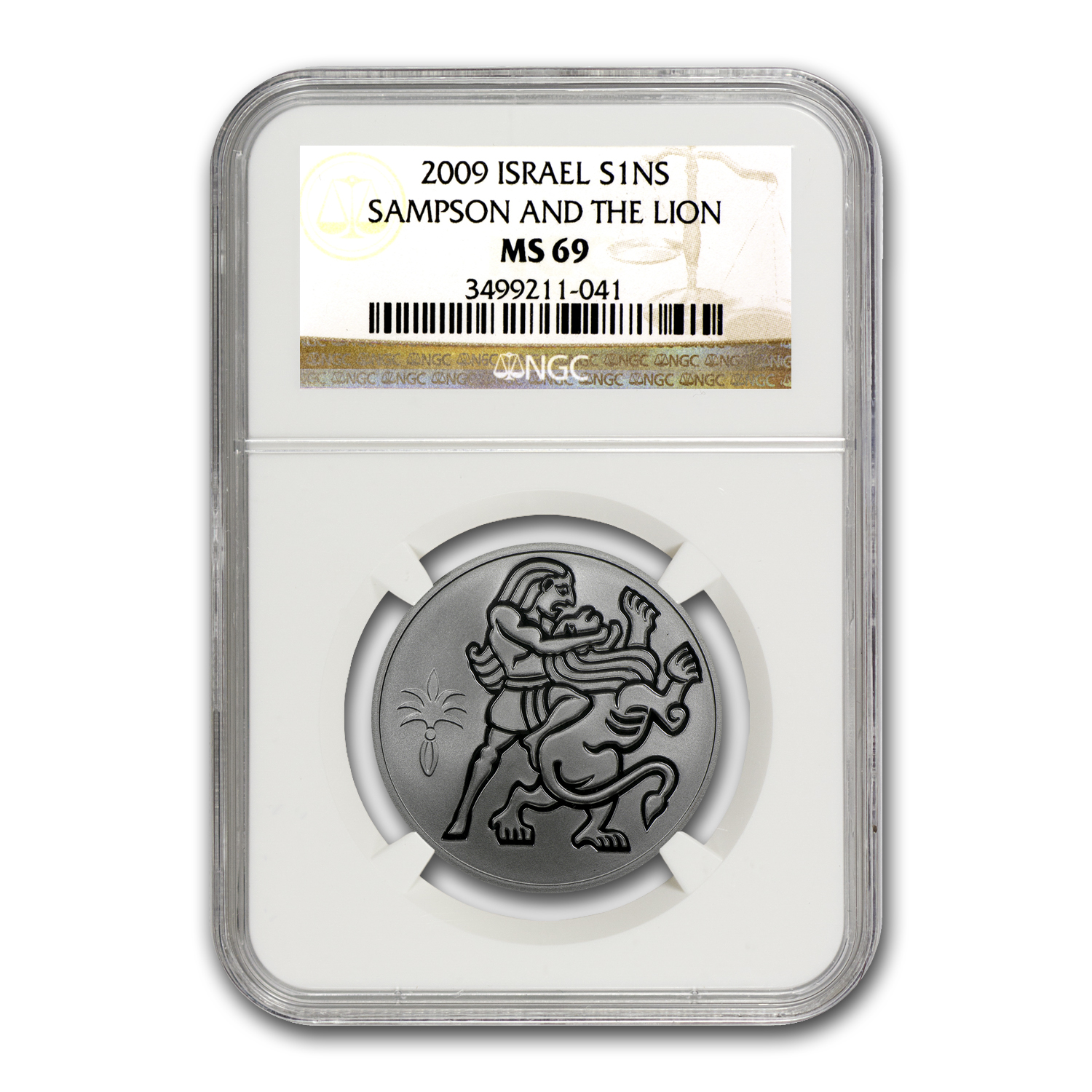 2009 Israel Samson and the Lion Silver 1 NIS MS-69 NGC