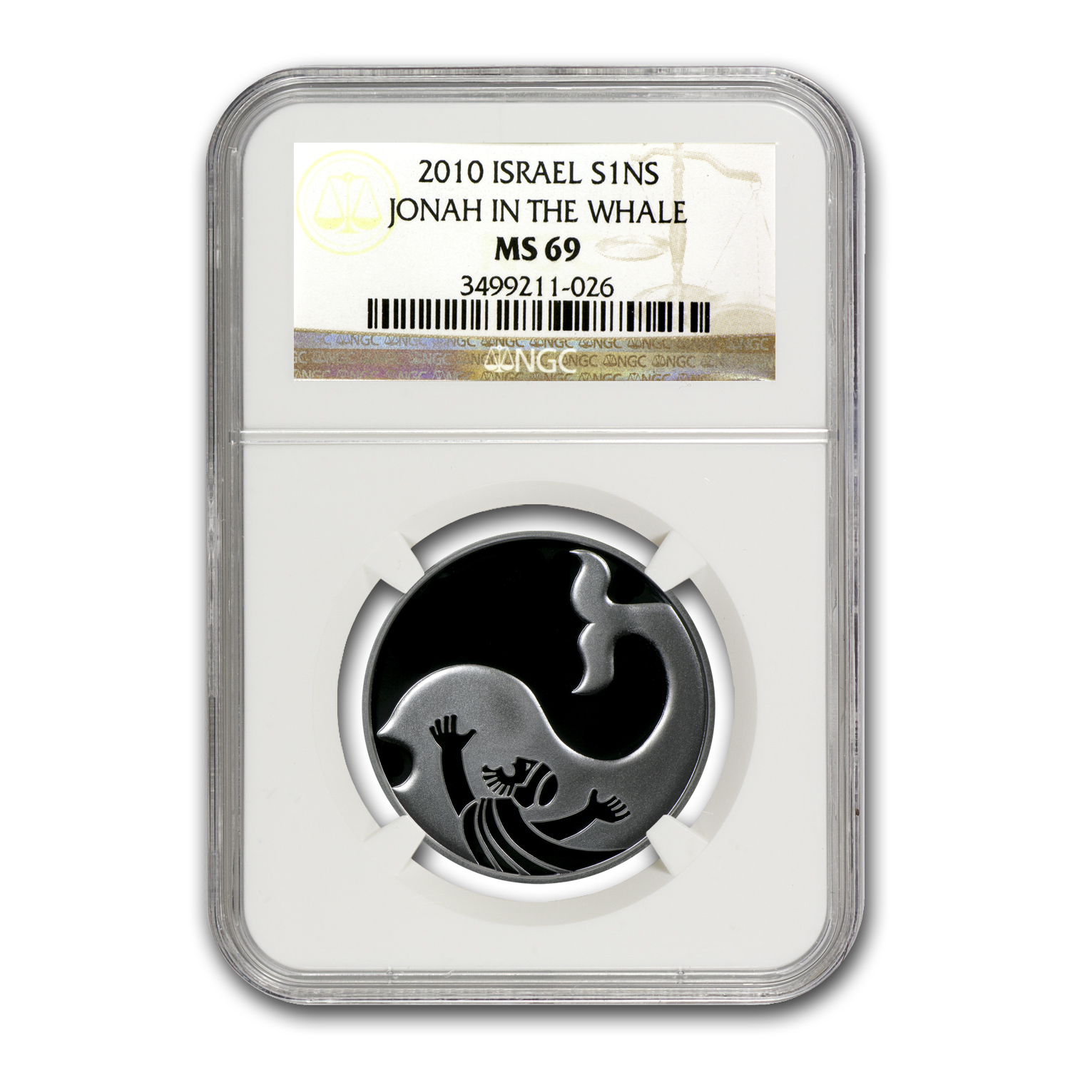 2010 Israel Jonah in the Whale Silver 1 NIS MS-69 NGC