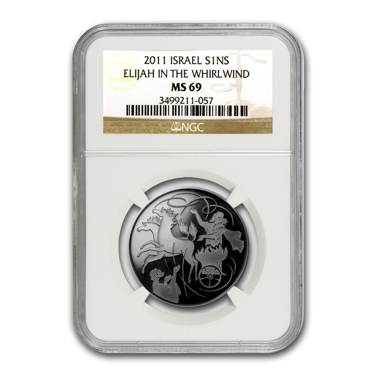 2011 Israel Silver 1 NIS Elijah in the Whirlwind MS-69 NGC