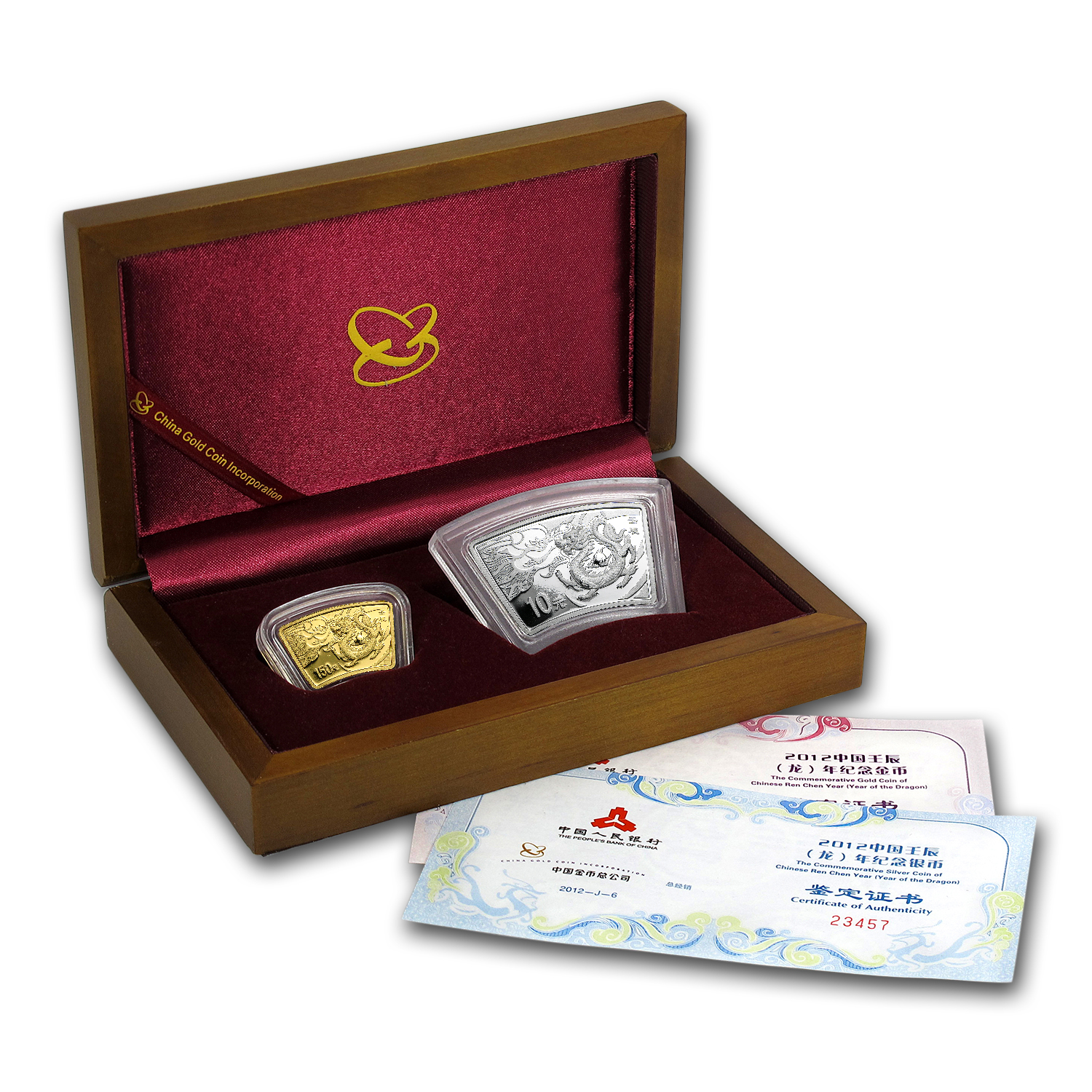 2012 1/3 oz Gold & 1 oz Silver Fan Year of the Dragon (Box & COA)