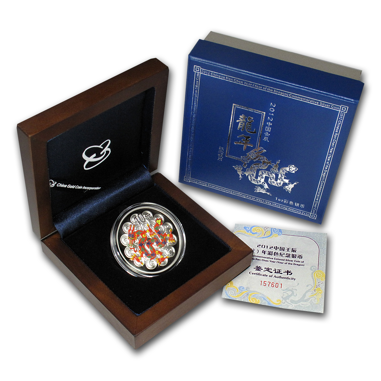 2012 China 1 oz Silver Dragon Prf (Colorized, w/box &COA)