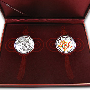 2012 China 2-Coin Silver Dragon Proof/Colorized Set