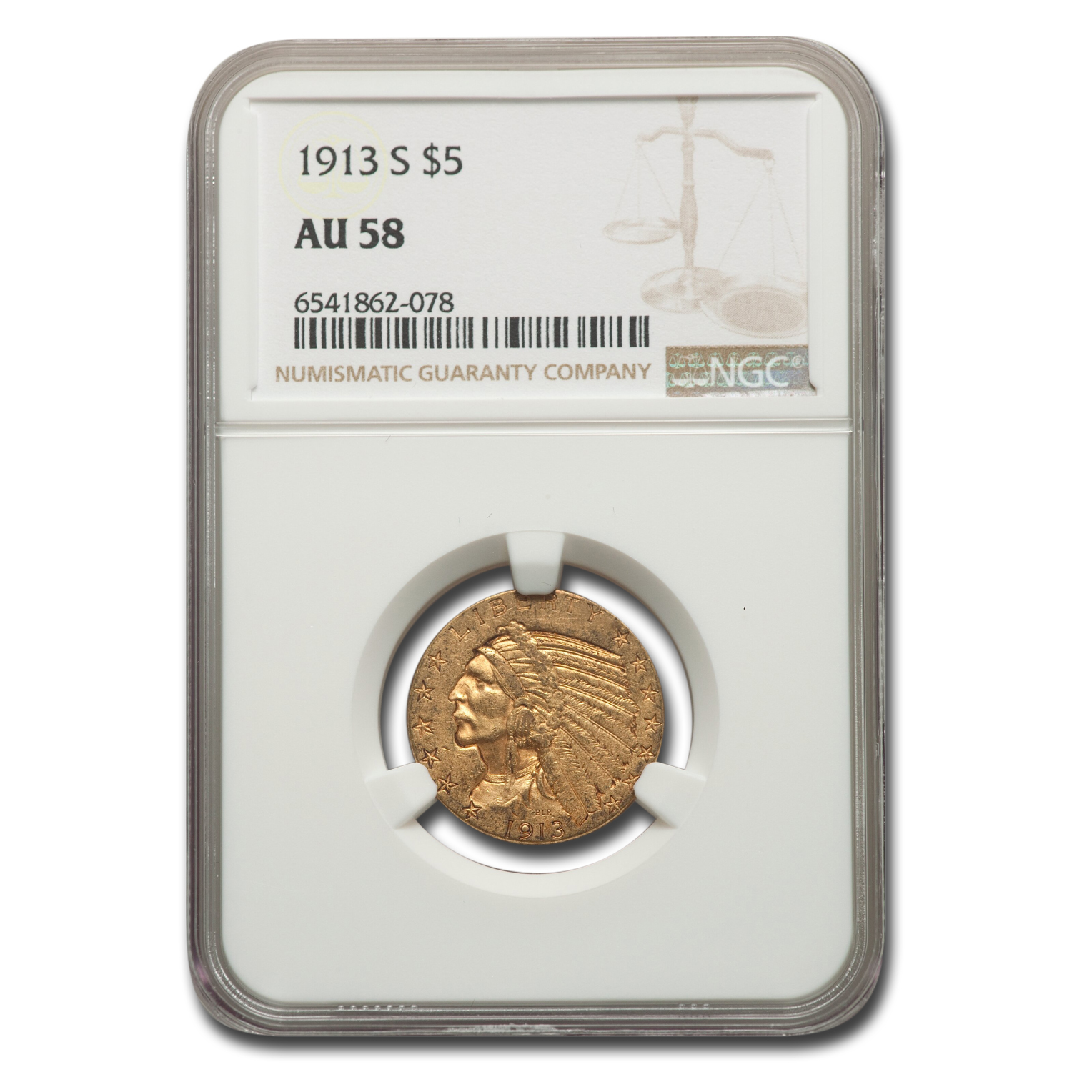 1913-S $5 Indian Gold Half Eagle AU-58 NGC