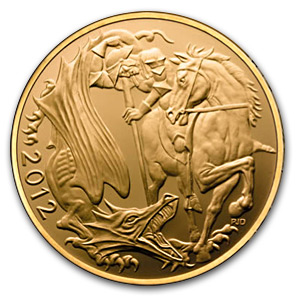 2012 Great Britain 5-Coin Gold Sovereign Prf Set (AGW 2.06)